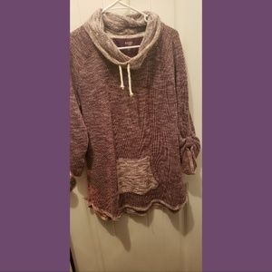 Purple Knit Cowl neck